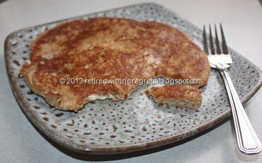 Banana Oatmeal Flax Breakfast Skillet Cake - enjoying