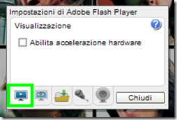 Impostazioni di Adobe Flash Player disabilita accelerazione hardware