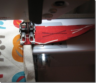 sewing on the handles