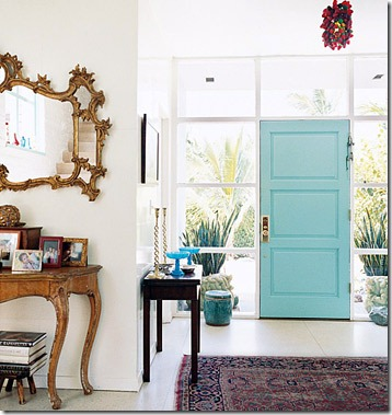 turquoise door via hooked on houses