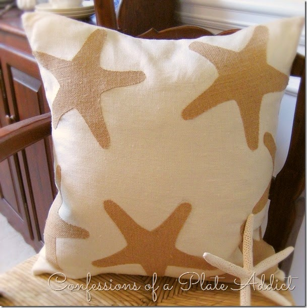 CONFESSIONS OF A PLATE ADDICT No-Sew Linen and Burlap Starfish Pillow