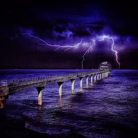Bembridge storm  by Kelly Murdoch - Landscapes Weather ( water, bembridge, uk, purple, lifeboat, sea, beach, storm, ztam, lightning, england, iow, weather, pier, isle of wight, light, rain, stormy )