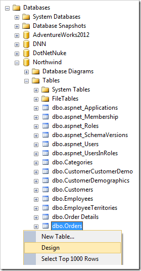 Designing the Orders table of the Northwind database.
