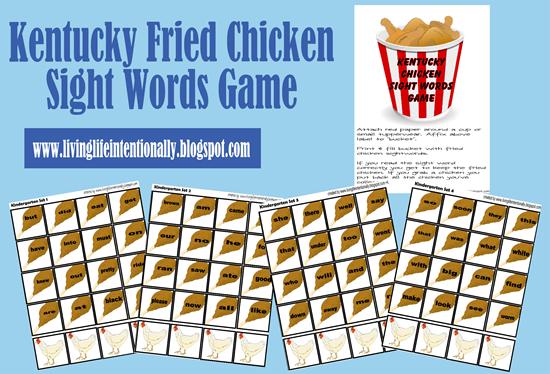 Kentucky Friend Chicken Sight Word Game for Kids