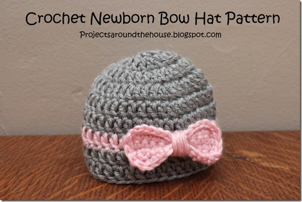 Free Crochet Pattern For A Newborn Hat : Projects Around the House: Crochet Newborn Bow Hat Pattern
