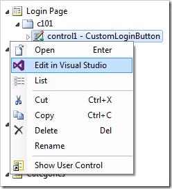 Editing the user control in Visual Studio.