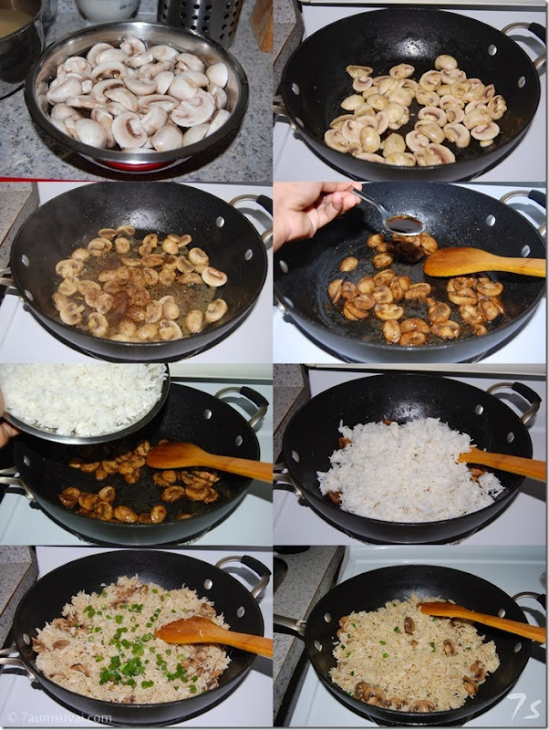Mushroom fried rice process
