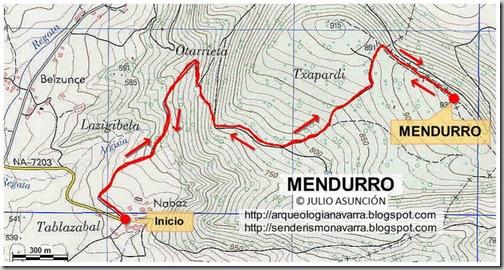 Mapa ruta Mendurro