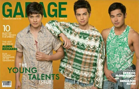 Alden Richards, Derrick Monasterio, Benjamin Alves on Garage Feb 2013 cover