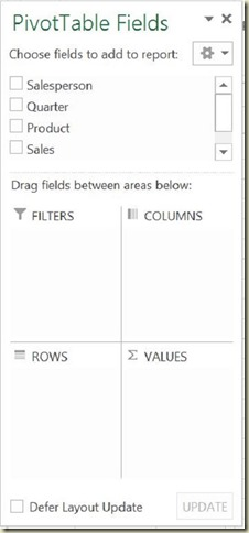 Pivot Tables in Excel - Empty Dialogue Box