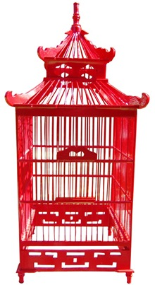red chinoiserie wooden pagoda birdcage