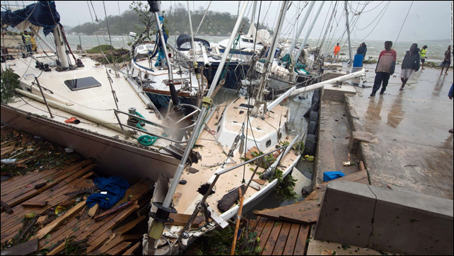 Damaged boats are seen on Saturday, 14 March 2015, in Port Vila, Vanuatu's capital. Photo: CNN