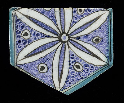 Tile | Origin: Syria or Egypt | Period:  15th century | Collection: The Madina Collection of Islamic Art, gift of Camilla Chandler Frost (M.2002.1.765) | Type: Ceramic; Architectural element, Fritware, underglaze-painted, Height: 5 13/16 in. (14.76 cm); Width: 6 7/8 in. (17.46 cm); Depth: 5/8 in. (1.59 cm)