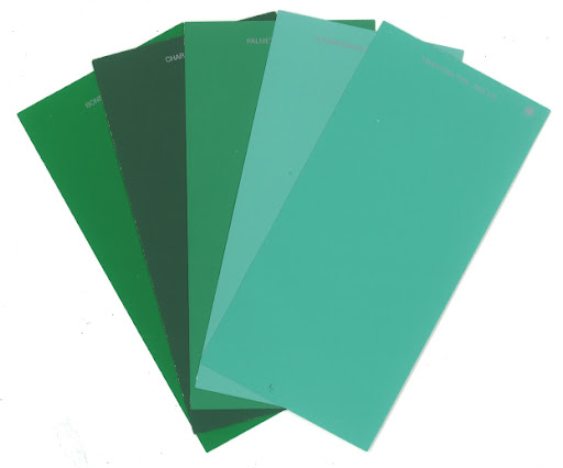My emerald & turquoise color palette from the Martha Stewart Home Depot paint line. The boldness of both colors all at once is punchy enough to get me through Fall. (www.homedepot.com)