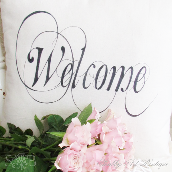 Shabby Art Boutique - welcome cushion 2