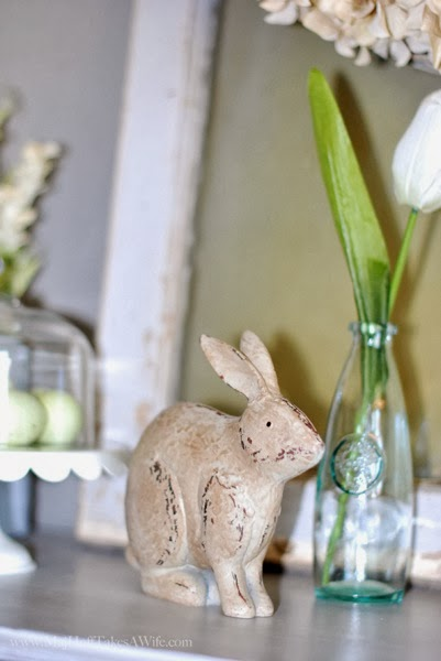 Sweet Bunny with Sea Glass bottle