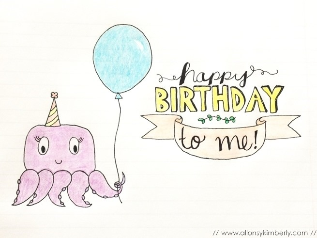Birthday Octopus Doodle | allonsykimberly.com