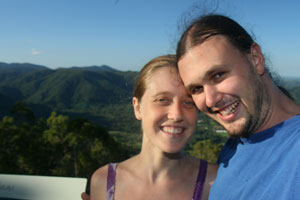 A lovely Bronwen & an insane-looking Ned at a lookout along the Mount Nebo Road