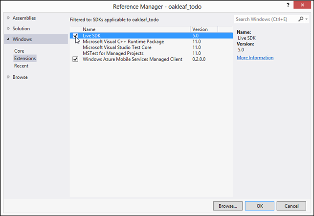 3-1 Add Live SDK 5.0 reference in VS