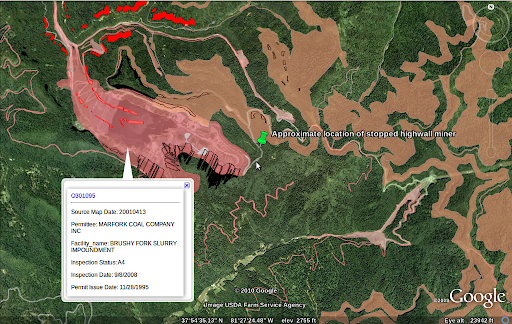 The small, bright red splotches are old auger mines, the pointy black markings near the bubble for Brushy Fork are too.  The salmon color sprawling to the right of Brushy Fork is the Bee Tree mine.  Massey has so far only worked in the western parts of this permit.