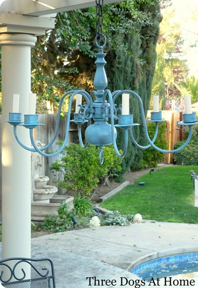 blue spray paint chandelier