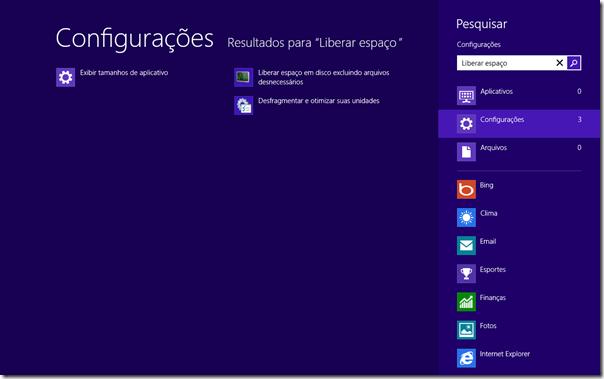 """Na tela inicial, digite """"Liberar espaço"""". Clique em Configurações e clique em Liberar espaço em disco..."""