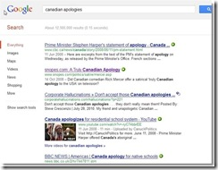 "Google results ""canadian apologies"""