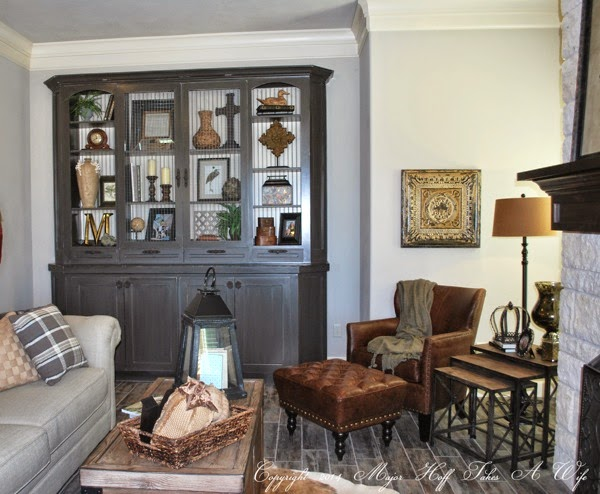 Built in living room cabinet double crown molding