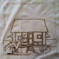 maids cottage on fabric