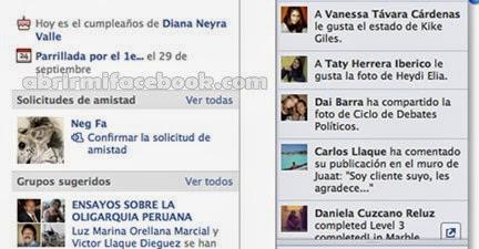 Panel derecho de Facebook
