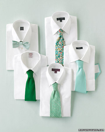 Mix and match ties, especially for weddings. (http://www.marthastewartweddings.com/)