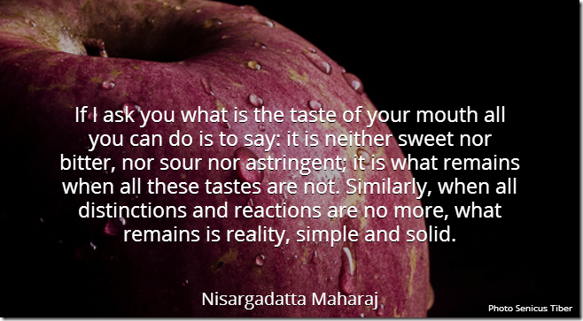 If I ask you what is the taste of your mouth all you can do is to say: it is neither sweet nor bitter, nor sour nor astringent; it is what remains when all these tastes are not. Similarly, when all distinctions and reactions are no more, what remains is reality, simple and solid. [Nisargadatta Maharaj]