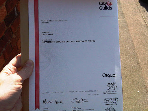 An unearned Level 1 Certificate in Adult Numeracy