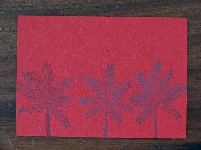 Palmtrees rouge linogravure HeleneB