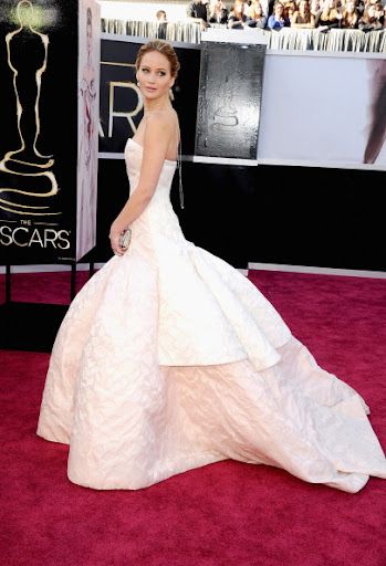 Jennifer Lawrence, winner of Best Actress in a Leading Role,  in Christian Dior Haute Couture and Chopard Jewels.