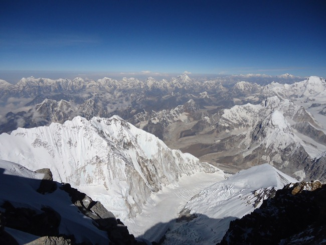 A view from top of Mount Everest that was recently scaled by a team comprising of women officers of the Indian Army