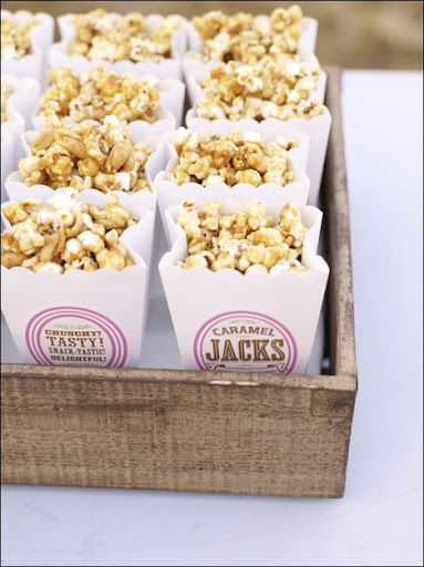 The popcorn in its custom packaging.