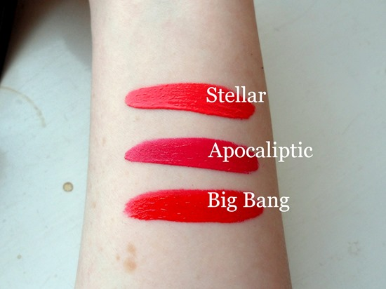 Swatches of Rimmel's Apolalips in Stellar, Apocaliptic and Big Bang