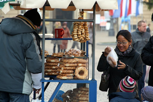 Obwarzanek is a popular snack in Krakow.