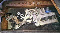 Domestic treadle sewing machine attachments in drawer10.2013