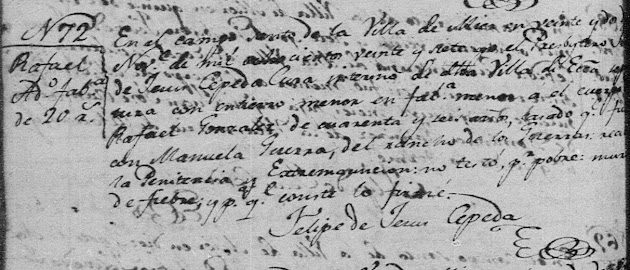 Rafael Gonzalez, FamilySearch, Mier, Death 1827 pg 2609.jpg