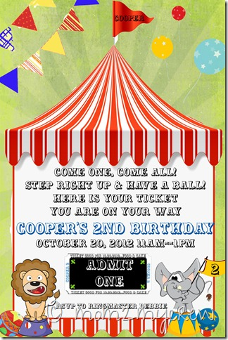 Coop's bday invite for blog