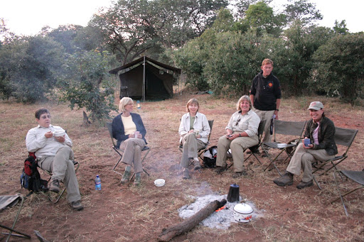 04/19/2008: Breakfast... Susan Beckerman, Linda Hardee, Carol, Carol Ann Chiodo, Robert Rogers, Toni Sherman, (Missing: myself [duh] and Phyllis Leventhal) (Campsite at Serondella, Chobe National Park, Botswana)