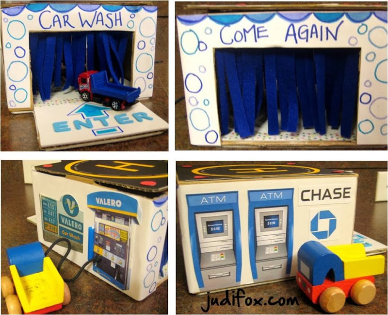Cardboard Toy Car Wash, Helicopter Pad, ATM, and Gas Station Pump Valero, Chase Bank 20
