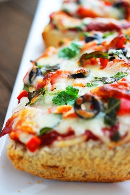 French Bread Pizzas – Just like the frozen kind, but 10x more delicious and wholesome! | thecomfortofcooking.com