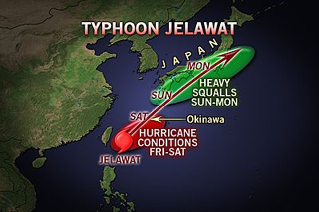 Projected path of Typhoon Jelawat, 28 September 2012. AccuWeather