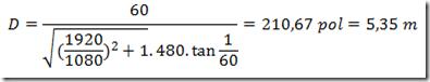 Equação para distância ideal da televisão - 60 polegadas em DVD