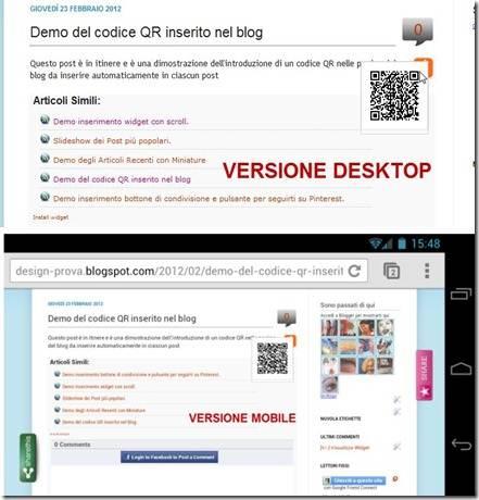 codice qr versione desktop e mobile
