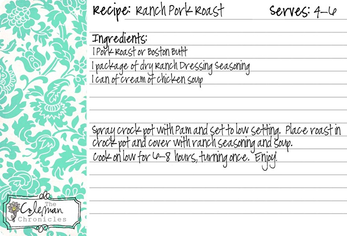 ranch pork roast recipe