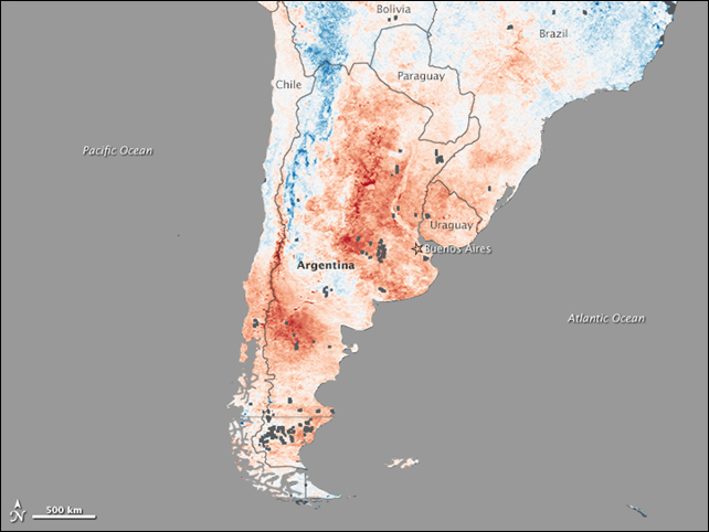 A deadly heatwave left its signature on the land in Argentina. This image is a compilation of land surface temperatures observed by the Moderate Resolution Imaging Spectroradiometer (MODIS) on NASA's Terra satellite between 19-26 December 2013, compared to average temperatures for the same period in 2000-2012. Nearly the entire country was much warmer than normal, with some locations reaching temperatures more than 15° Celsius above average. Graphic: Jesse Allen / NASA Earth Observatory